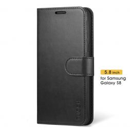 TUCCH Samsung Galaxy S8 Wallet Case Folio Style Kickstand With Magnetic Strap-Black