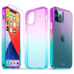 TUCCH iPhone 12 iPhone 12 Pro Clear Case, IML New Craft Scratchproof Shockproof Slim Case - Violet Blue