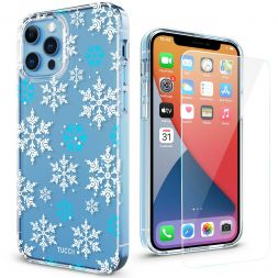 TUCCH iPhone 12 iPhone 12 Pro Clear Case, IML New Craft Scratchproof Shockproof Slim Case - Snowflake