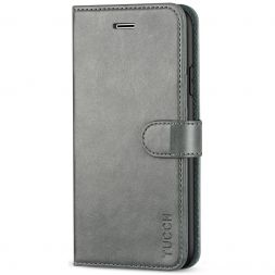TUCCH iPhone 11 Leather Wallet Case Folio Flip Kickstand With Magnetic Clasp-Gray