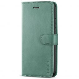 TUCCH iPhone 11 Leather Wallet Case Folio Flip Kickstand With Magnetic Clasp-Myrtle Green