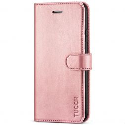 TUCCH iPhone 11 Leather Wallet Case Folio Flip Kickstand With Magnetic Clasp-Rose Gold