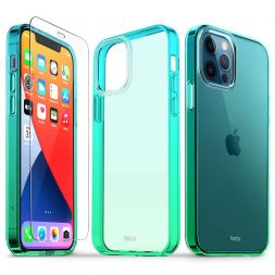 TUCCH iPhone 12 iPhone 12 Pro Clear Case, IML New Craft Scratchproof Shockproof Slim Case - Blue & Green