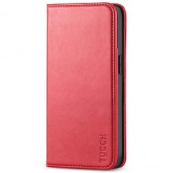 TUCCH iPhone 13 Wallet Case, iPhone 13 Flip Cover With Kickstand, Card Slots, Magnetic Closure-Red
