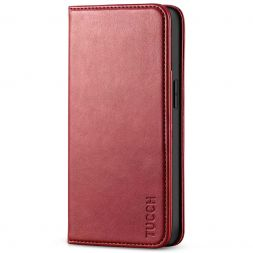 TUCCH iPhone 13 Wallet Case, iPhone 13 Flip Cover With Kickstand, Card Slots, Magnetic Closure-Dark Red