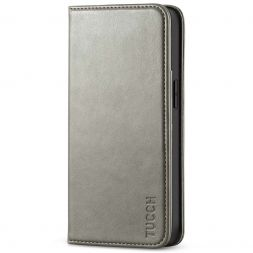 TUCCH iPhone 13 Wallet Case, iPhone 13 Flip Cover With Kickstand, Card Slots, Magnetic Closure-Gray