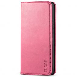 TUCCH iPhone 13 Wallet Case, iPhone 13 Flip Cover With Kickstand, Card Slots, Magnetic Closure-Hot Pink