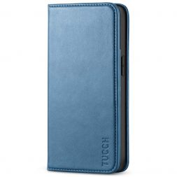 TUCCH iPhone 13 Wallet Case, iPhone 13 Flip Cover With Kickstand, Card Slots, Magnetic Closure-Light Blue