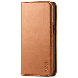 TUCCH iPhone 13 Wallet Case, iPhone 13 Flip Cover With Kickstand, Card Slots, Magnetic Closure-Light Brown
