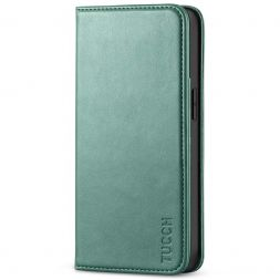 TUCCH iPhone 13 Wallet Case, iPhone 13 Flip Cover With Kickstand, Card Slots, Magnetic Closure-Myrtle Green