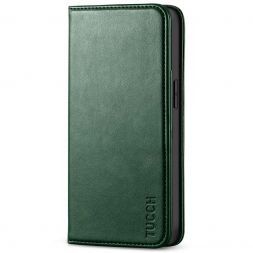 TUCCH iPhone 13 Wallet Case, iPhone 13 Flip Cover With Kickstand, Card Slots, Magnetic Closure-Midnight Green