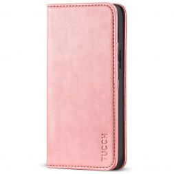 TUCCH iPhone 13 Wallet Case, iPhone 13 Flip Cover With Kickstand, Card Slots, Magnetic Closure-Rose Gold