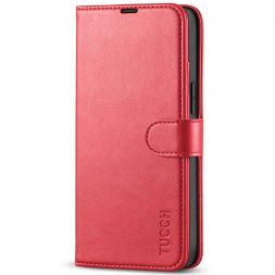 TUCCH iPhone 13 Mini Leather Wallet Case Folio Flip Book Full Protection Cover With Kickstand, Card Slots and Magnetic Clasp-Red