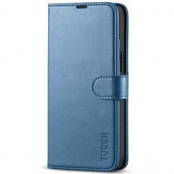 TUCCH iPhone 13 Mini Leather Wallet Case Folio Flip Book Full Protection Cover With Kickstand, Card Slots and Magnetic Clasp-Light Blue