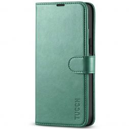 TUCCH iPhone 13 Mini Leather Wallet Case Folio Flip Book Full Protection Cover With Kickstand, Card Slots and Magnetic Clasp-Myrtle Green