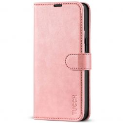 TUCCH iPhone 13 Mini Leather Wallet Case Folio Flip Book Full Protection Cover With Kickstand, Card Slots and Magnetic Clasp-Rose Gold