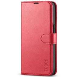TUCCH iPhone 13 Pro Wallet Case, iPhone 13 Pro Book Folio Flip Kickstand With Magnetic Clasp-Red