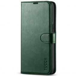 TUCCH iPhone 13 Pro Wallet Case, iPhone 13 Pro Book Folio Flip Kickstand With Magnetic Clasp-Midnight Green
