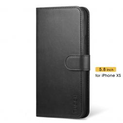 TUCCH iPhone XS Wallet Case Folio Style Kickstand With Magnetic Strap-Black