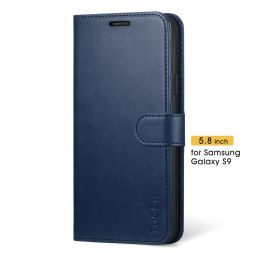 TUCCH Samsung Galaxy S9 Wallet Case Folio Style Kickstand With Magnetic Strap-Blue