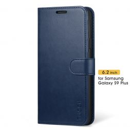 TUCCH Samsung Galaxy S9 Plus Wallet Case Folio Style Kickstand With Magnetic Strap-Blue