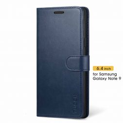 TUCCH Samsung Galaxy Note 9 Wallet Case Folio Style Kickstand With Magnetic Strap-Blue