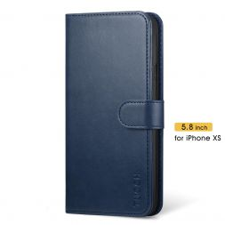 TUCCH iPhone XS Wallet Case Folio Style Kickstand With Magnetic Strap-DarK Blue