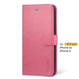 TUCCH iPhone 6 6s Wallet Case Folio Style Kickstand with Magnetic Strap-Hot Pink