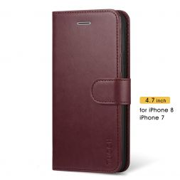 TUCCH iPhone 7/8 Wallet Case Folio Style Kickstand With Magnetic Strap-Wine Red
