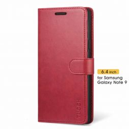 TUCCH Samsung Galaxy Note 9 Wallet Case Folio Style Kickstand With Magnetic Strap-Red