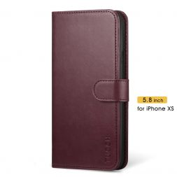 TUCCH iPhone XS Wallet Case Folio Style Kickstand With Magnetic Strap-Wine Red