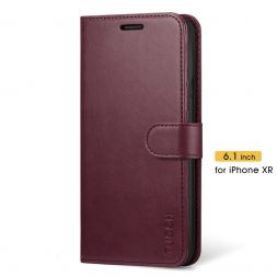 TUCCH iPhone XR Wallet Case Folio Style Kickstand With Magnetic Strap-Wine Red