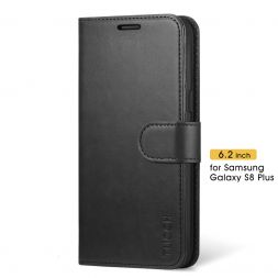 TUCCH Samsung Galaxy S8 Plus Wallet Case Folio Style Kickstand With Magnetic Strap-Black