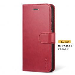TUCCH iPhone 7/8 Wallet Case Folio Style Kickstand With Magnetic Strap-Red