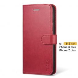 TUCCH iPhone 7/8 Plus Wallet Case Folio Style Kickstand With Magnetic Strap-Red