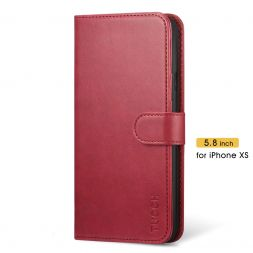 TUCCH iPhone XS Wallet Case Folio Style Kickstand With Magnetic Strap-Dark Red