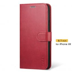 TUCCH iPhone XR Wallet Case Folio Style Kickstand With Magnetic Strap-Red