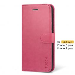 TUCCH iPhone 7/8 Plus Wallet Case Folio Style Kickstand With Magnetic Strap-Hot Pink