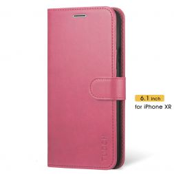 TUCCH iPhone XR Wallet Case Folio Style Kickstand With Magnetic Strap-Hot Pink