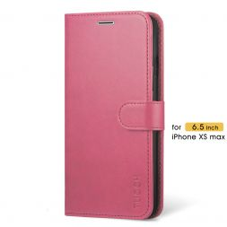 TUCCH iPhone XS Max Wallet Case Folio Style Kickstand With Magnetic Strap-Hot Pink