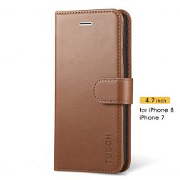 TUCCH iPhone 7/8 Wallet Case Folio Style Kickstand With Magnetic Strap-Brown