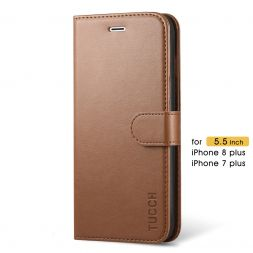 TUCCH iPhone 7/8 Plus Wallet Case Folio Style Kickstand With Magnetic Strap-Brown