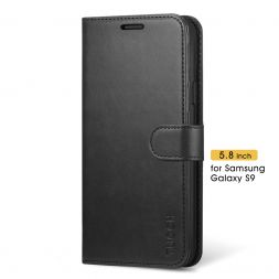 TUCCH Samsung Galaxy S9 Wallet Case Folio Style Kickstand With Magnetic Strap-Black