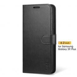 TUCCH Samsung Galaxy S9 Plus Wallet Case Folio Style Kickstand With Magnetic Strap-Black