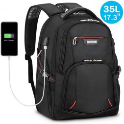 "17.3"" Travel Laptop Men Backpack 35L, Durable, Anti-Theft, Wear-Resistant, USB Charging Port"