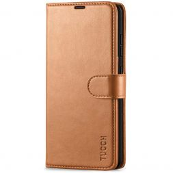TUCCH Samsung Galaxy A52 Wallet Case Folio Style Kickstand With Magnetic Strap - Light Brown
