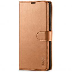 TUCCH Samsung Galaxy A72 Wallet Case Folio Style Kickstand With Magnetic Strap - Light Brown