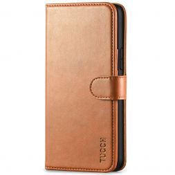 TUCCH iPhone 11 Pro Wallet Case Folio Flip Kickstand With Magnetic Clasp-Light Brown