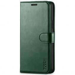TUCCH iPhone 11 Leather Wallet Case Folio Flip Kickstand With Magnetic Clasp-Midnight Green