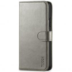 TUCCH IPhone 11 Pro Max Leather Wallet Case Folio Flip Kickstand With Magnetic Clasp-Gray